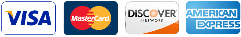 Four credit card logos displayed